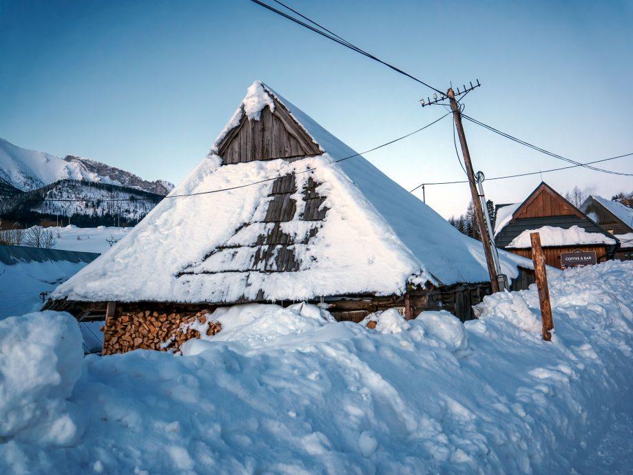 Drevenica pod snehom