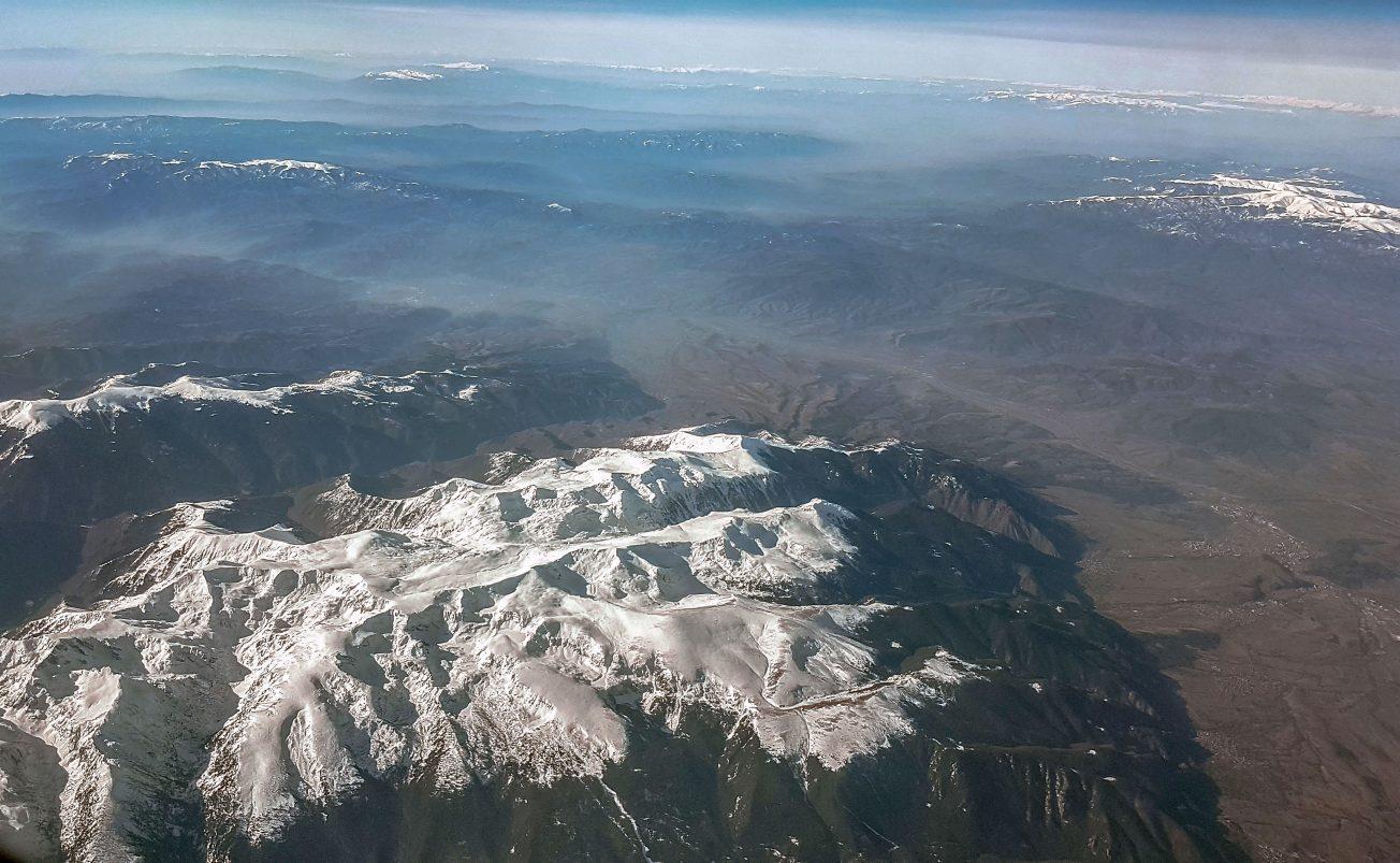 Pohorie - pohľad z okna lietadla