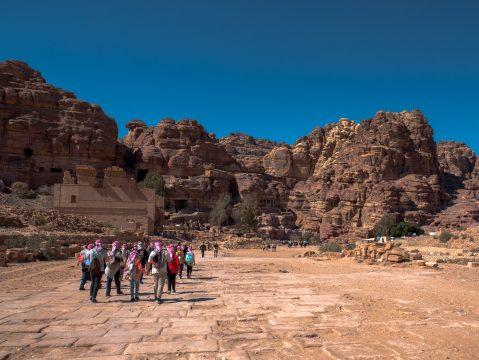 Turisti v Petre, Jordánsko