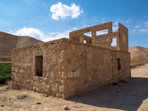 Kamenná budova Jordánsko